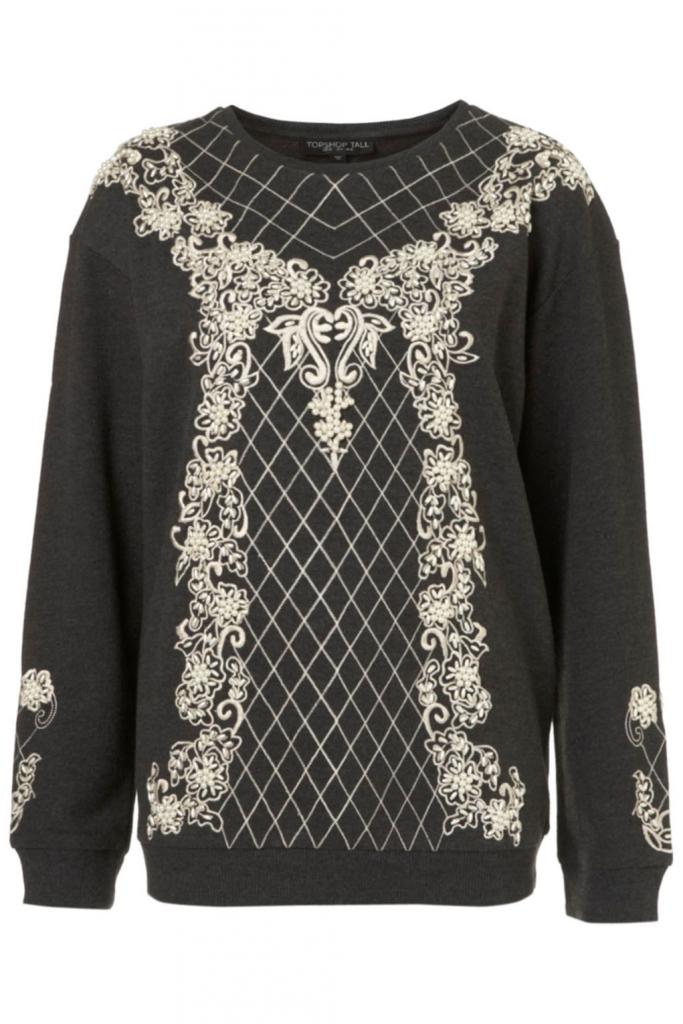 Bestickter Sweater von Topshop