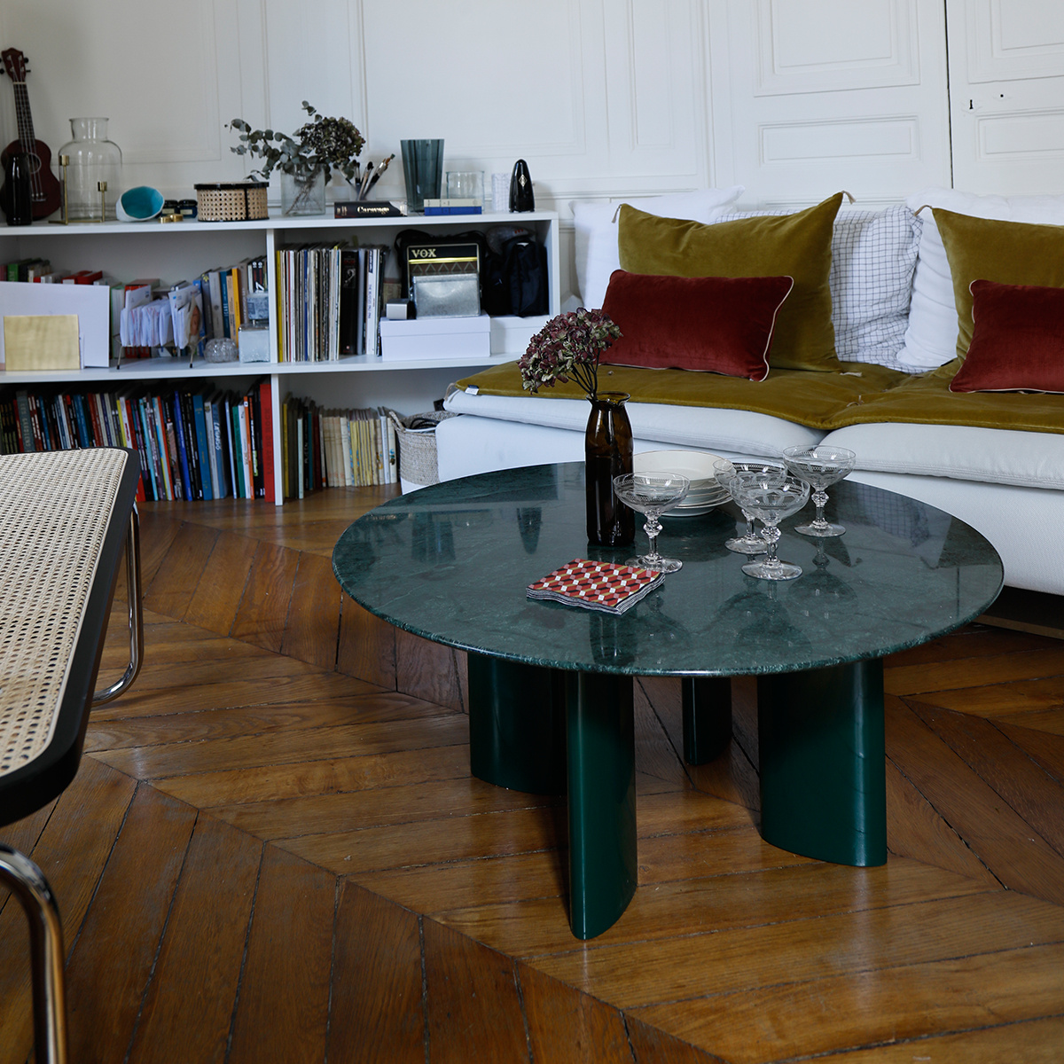- Carlotta-coffee-table-green-marble-top-and-green-legs - Journelles
